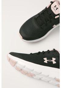 Czarne buty sportowe Under Armour na średnim obcasie, z okrągłym noskiem, na sznurówki
