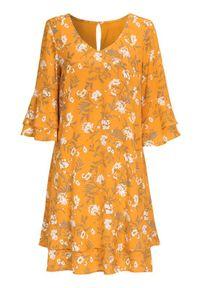 Cellbes Sukienka warstwa na warstwie z rękawami z falbanką żółty we wzory female żółty/ze wzorem 38/40. Kolor: żółty. Materiał: jersey, tkanina. Styl: wizytowy, elegancki