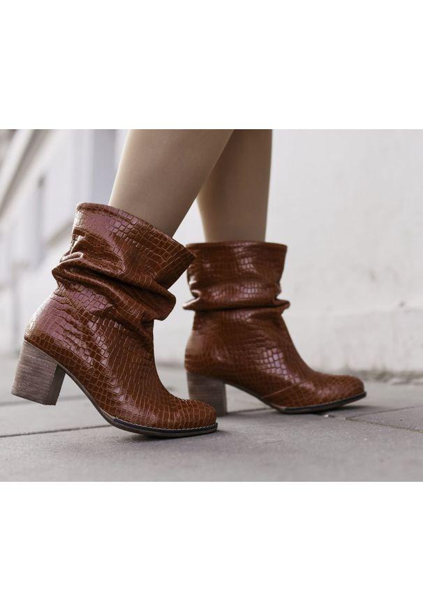 Brązowe botki Zapato wąskie, z okrągłym noskiem, na spotkanie biznesowe