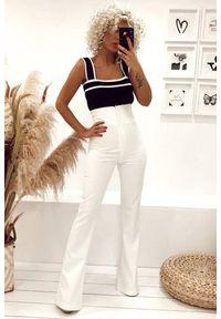 Białe spodnie IVET z podwyższonym stanem, eleganckie