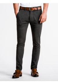 Ombre Clothing - Spodnie męskie chino P832 - grafitowe - XL. Kolor: szary. Materiał: wiskoza, poliester, tkanina, elastan. Styl: elegancki, klasyczny