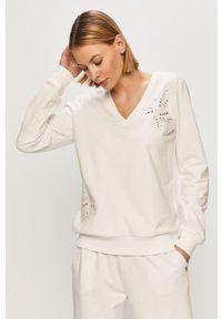 Biała bluza Liu Jo gładkie, długa, z długim rękawem, bez kaptura