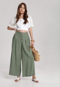 Renee - Ciemnozielone Spodnie Amaliphis. Kolor: zielony