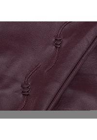 Semi Line - Rękawiczki Damskie SEMI LINE - P8205-3 Bordowy. Kolor: czerwony. Materiał: skóra
