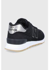 Czarne sneakersy New Balance na niskim obcasie, z cholewką