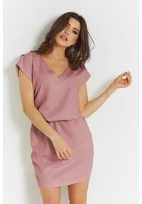 e-margeritka - Sukienka mini z dekoltem V różowa - 38. Kolor: różowy. Materiał: tkanina, poliester, materiał. Długość: mini