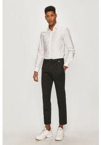 Biała koszula Calvin Klein z długim rękawem, z klasycznym kołnierzykiem, długa, na co dzień