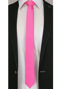 Alties - Różowy Stylowy Krawat (Śledź) Męski -ALTIES- 5 cm, Wąski, Neonowy w Drobne Paski, Prążki. Kolor: różowy. Materiał: tkanina. Wzór: prążki, paski. Styl: elegancki