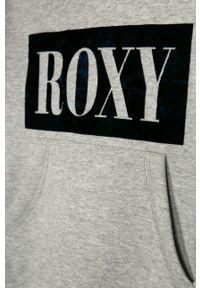 Szara bluza Roxy z aplikacjami, casualowa, z kapturem