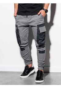 Ombre Clothing - Spodnie męskie joggery P998 - szare - XXL. Kolor: szary. Materiał: tkanina, elastan, bawełna