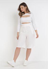 Białe spodnie z wysokim stanem Born2be