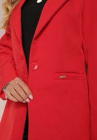 Renee - Czerwona Marynarka Iseope. Kolor: czerwony. Materiał: tkanina. Długość: długie. Wzór: jednolity. Styl: elegancki
