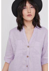 medicine - Medicine - Koszula Essential. Okazja: na co dzień. Kolor: fioletowy. Materiał: tkanina. Długość rękawa: krótki rękaw. Długość: krótkie. Wzór: gładki. Styl: casual