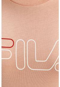Różowa bluzka Fila na co dzień, casualowa, z nadrukiem