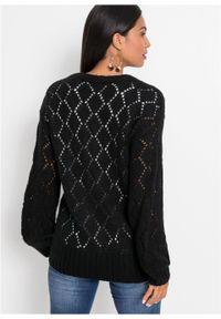 Sweter rozpinany w ażurowy wzór bonprix czarny. Kolor: czarny. Wzór: ażurowy