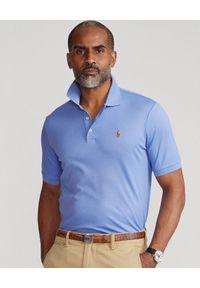 Ralph Lauren - RALPH LAUREN - Niebieska koszulka polo Soft Coton Custom Slim Fit. Typ kołnierza: polo. Kolor: niebieski. Materiał: bawełna, prążkowany. Wzór: haft. Styl: elegancki