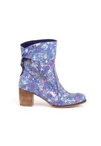 Niebieskie botki Zapato wąskie, w kolorowe wzory, na co dzień, z cholewką za kostkę