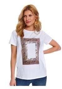 TOP SECRET - T-shirt damski z krótkim rękawem. Kolor: biały. Materiał: skóra, bawełna. Długość rękawa: krótki rękaw. Długość: krótkie. Wzór: gładki. Sezon: wiosna
