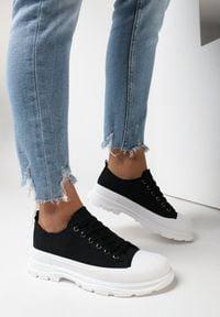 Born2be - Czarne Trampki Galixelia. Zapięcie: sznurówki. Kolor: czarny. Materiał: jeans, materiał, guma. Szerokość cholewki: normalna. Wzór: aplikacja