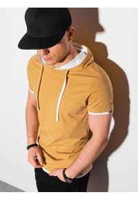 Żółty t-shirt Ombre Clothing z kapturem
