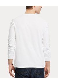 Ralph Lauren - RALPH LAUREN - Biała koszulka Custom Slim Fit. Typ kołnierza: polo. Kolor: biały. Materiał: bawełna, materiał. Długość: długie. Wzór: haft. Styl: klasyczny