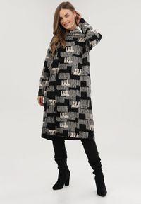 Born2be - Czarno-Kremowa Sukienka Dzianinowa Sheilee. Kolor: beżowy. Materiał: dzianina. Długość rękawa: długi rękaw. Wzór: jednolity. Typ sukienki: proste. Długość: mini