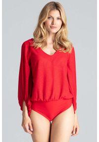 Czerwona bluzka Figl elegancka, z dekoltem w serek