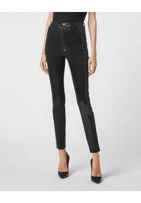 Philipp Plein - PHILIPP PLEIN - Czarne spodnie z wysokim stanem ICONIC. Stan: podwyższony. Kolor: czarny
