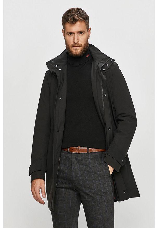 Czarny płaszcz Hugo bez kaptura