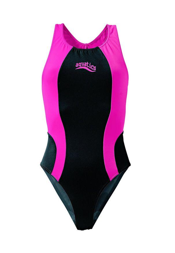 Strój kąpielowy dziewczęcy bonprix czarno-różowy. Kolor: czarny