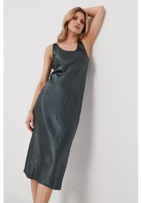 Max Mara Leisure - Sukienka. Kolor: zielony. Materiał: tkanina. Wzór: gładki. Typ sukienki: rozkloszowane