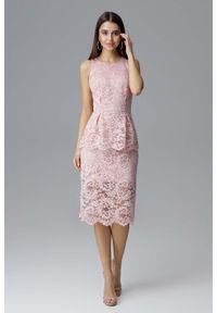 Różowa sukienka wizytowa Figl baskinka