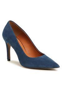 Niebieskie szpilki Sergio Bardi na szpilce, eleganckie, z cholewką