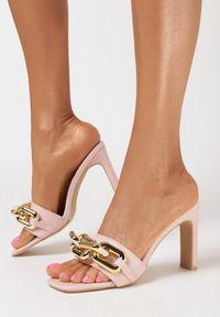 Born2be - Różowe Klapki Malithilei. Nosek buta: otwarty. Kolor: różowy. Wzór: kwiaty, aplikacja. Obcas: na słupku