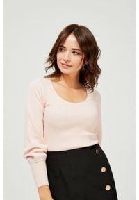 MOODO - Sweter z bufiastymi rękawami. Materiał: wiskoza, poliamid, poliester. Długość rękawa: długi rękaw. Długość: długie. Wzór: gładki, ze splotem