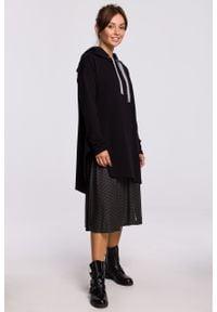 e-margeritka - Bluza długa z kapturem oversize czarna - l/xl. Typ kołnierza: kaptur. Kolor: czarny. Materiał: elastan, dzianina, bawełna, materiał. Długość: długie