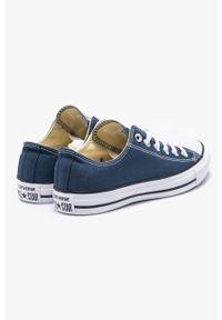 Niebieskie niskie trampki Converse na sznurówki, z okrągłym noskiem