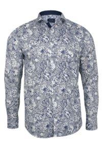 Niebieska elegancka koszula Rigon do pracy, długa, z klasycznym kołnierzykiem
