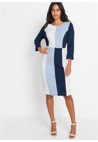 Sukienka ołówkowa bonprix jasnoniebiesko-ciemnoniebiesko-biały. Kolor: biały. Materiał: dzianina. Typ sukienki: ołówkowe. Styl: elegancki