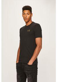 Czarny t-shirt EA7 Emporio Armani z nadrukiem, na co dzień