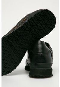 Czarne sneakersy Guess Jeans na sznurówki, z okrągłym noskiem, z cholewką