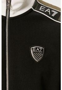Czarna bluza rozpinana EA7 Emporio Armani bez kaptura, z aplikacjami