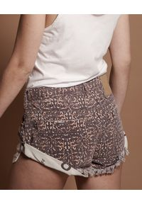 ONETEASPOON - Spodenki w cętki Bandits. Stan: obniżony. Kolor: brązowy. Materiał: jeans. Wzór: aplikacja
