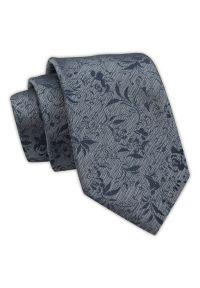 Krawat Męski, Popielato-Granatowy, Wzór Florystyczny, Elegancki, 7 cm -Angelo di Monti. Kolor: niebieski. Materiał: tkanina. Wzór: kwiaty. Styl: elegancki