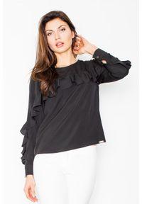 Czarna bluzka z długim rękawem Figl z falbankami, długa