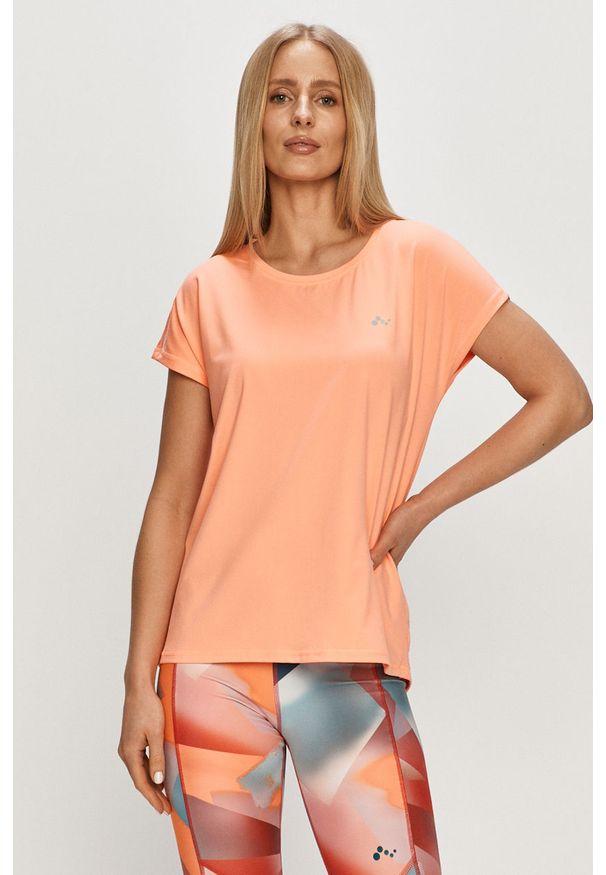 Only Play - T-shirt. Okazja: na co dzień. Kolor: pomarańczowy. Materiał: elastan, dzianina, poliester. Wzór: gładki. Styl: casual