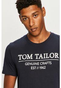 Niebieski t-shirt Tom Tailor Denim z okrągłym kołnierzem, na co dzień, z nadrukiem