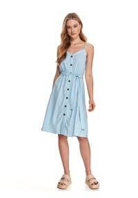 TOP SECRET - Letnia sukienka na ramiączkach z wiązaniem w talii. Kolor: niebieski. Materiał: len, tkanina. Długość rękawa: na ramiączkach. Sezon: lato. Styl: wakacyjny. Długość: midi