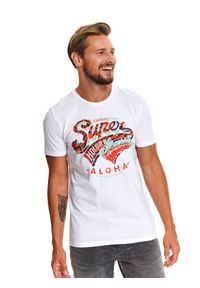 TOP SECRET - T-shirt z nadrukiem. Kolor: biały. Materiał: tkanina, bawełna. Długość rękawa: krótki rękaw. Długość: krótkie. Wzór: nadruk. Sezon: lato. Styl: wakacyjny