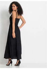 Sukienka z koronką bonprix czarny. Kolor: czarny. Materiał: koronka. Długość rękawa: bez rękawów. Wzór: koronka. Długość: maxi